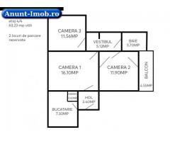Anunturi Imobiliare Apartament 3 camere 63mp bloc 4 etaje zona Astra Blvd Saturn