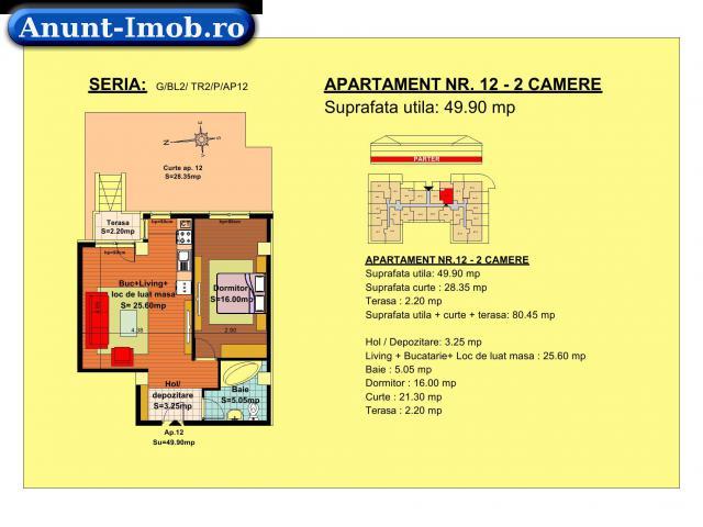 Anunturi Imobiliare Apartament 2 camere, parter, zona Tractorul-Brasov