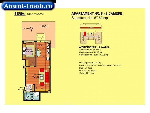 Anunturi Imobiliare Apartament 2camere, parter, zona Tractorul-Brasov