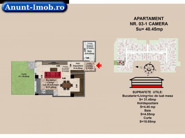 Anunturi Imobiliare Garsoniera de vanzare in Brasov, parter mall Coresi